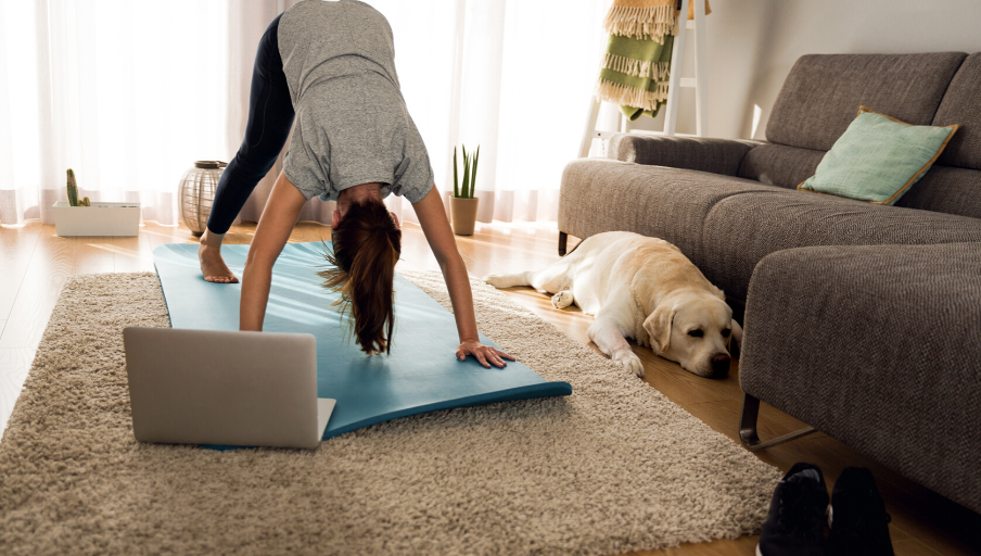 best online yoga classes woman in downward dog yoga pose