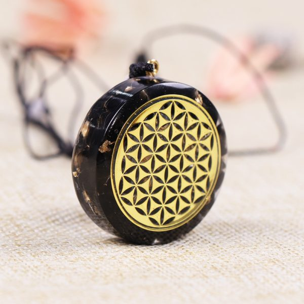 Obsidian Sacred Geometry Orgonite Pendant Necklace Side View