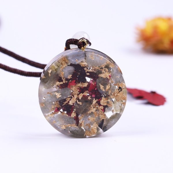 Labradorite Garnet Om Symbol Orgonite Pendant Necklace Back