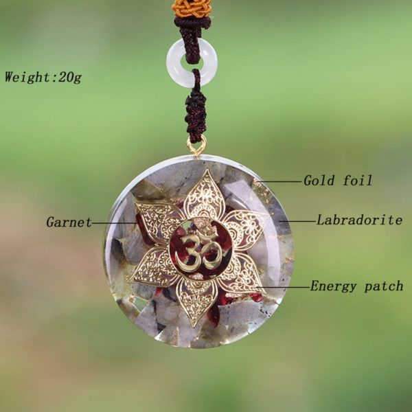 Labradorite Garnet Om Symbol Orgonite Pendant Necklace Contents Diagram