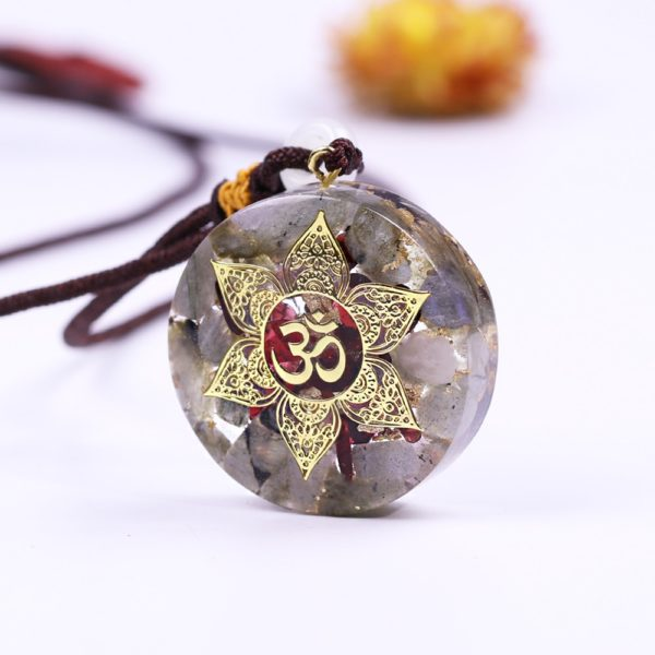 Labradorite Garnet Om Symbol Orgonite Pendant Necklace Side View