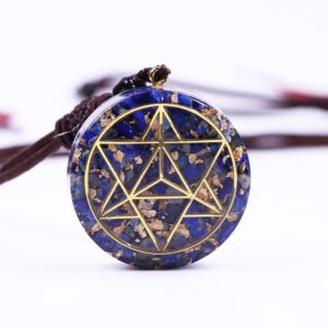 Lapis Lazuli Sacred Geometry Orgonite Pendant Necklace Front View