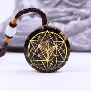 Obsidian Quartz Sacred Geometry Orgonite Pendant Necklace