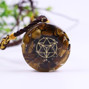 Tiger Eye Sacred Geometry Crystal Orgonite Pendant Necklace