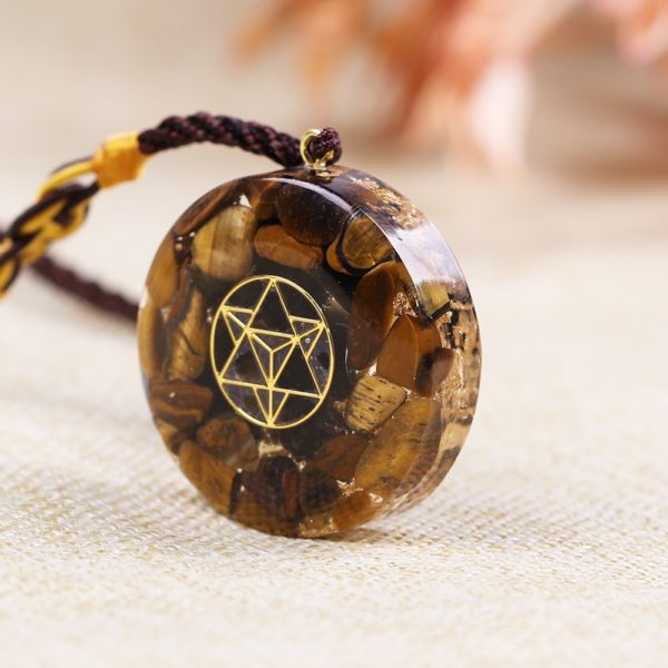 Tiger Eye Sacred Geometry Crystal Orgonite Pendant Necklace Angle View 2
