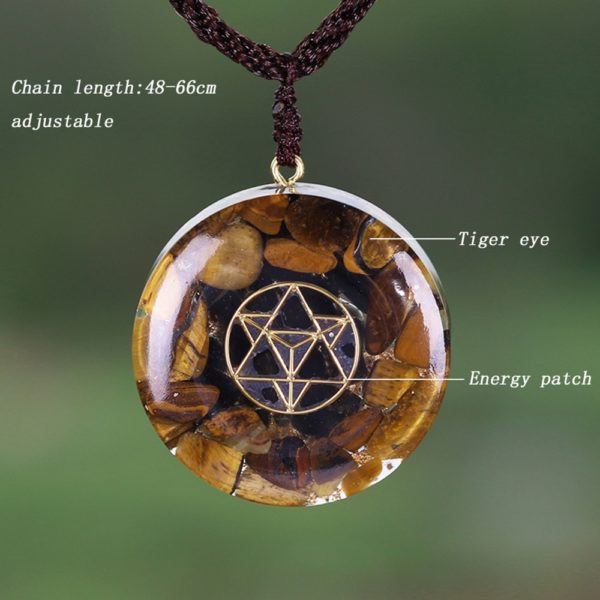 Tiger Eye Sacred Geometry Crystal Orgonite Pendant Necklace Contents Diagram