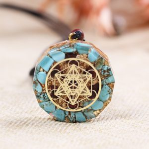 Turquoise Garnet Metatron's Cube Orgonite Pendant Necklace