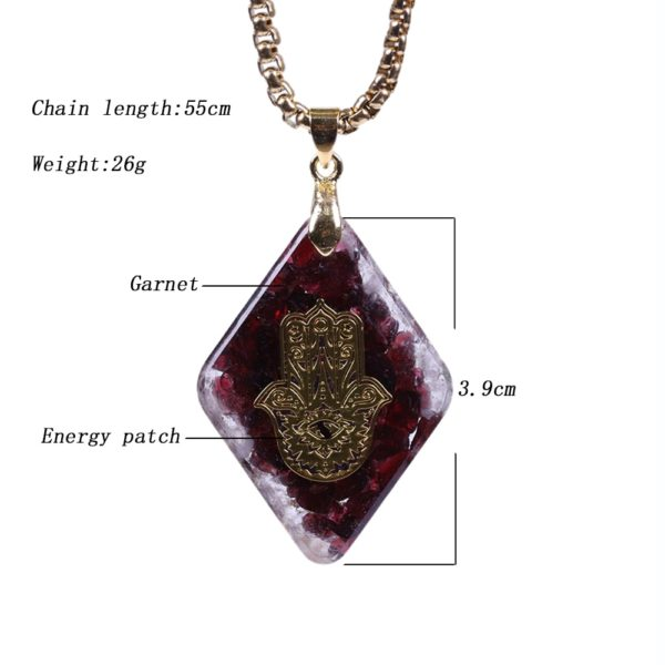 Garnet Hamsa Symbol Orgonite Geometric Pendant Necklace Dimensions Diagram
