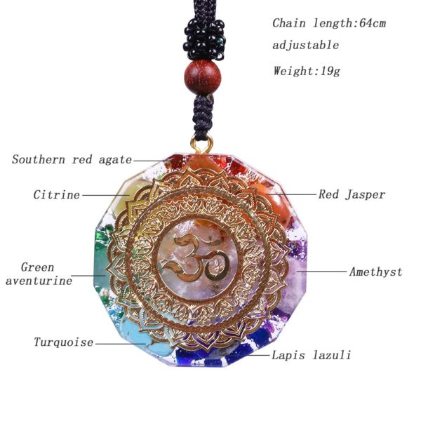 Om Symbol Chakra Healing Energy Orgonite Pendant Necklace Dimensions Diagram