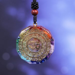 Om Symbol Chakra Healing Energy Orgonite Pendant Necklace Front View