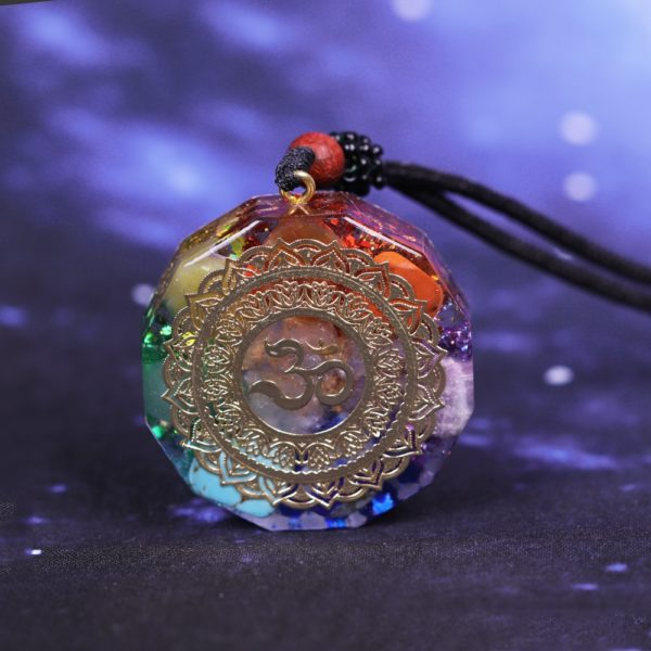 Om Symbol Chakra Healing Energy Orgonite Pendant Necklace Front View Close Up