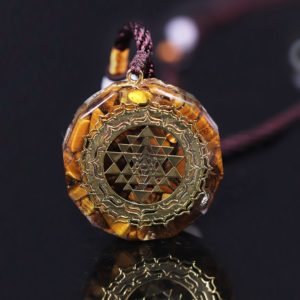 Sri Yantra Tiger's Eye Orgonite Pendant Necklace Frontal View Close Up 2