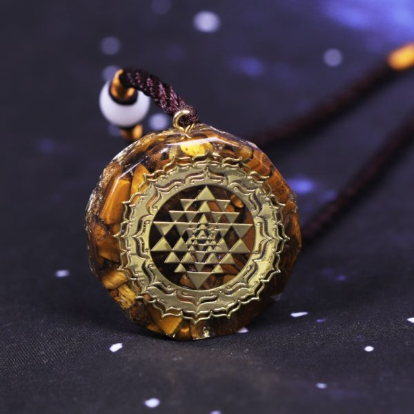 Sri Yantra Tiger's Eye Orgonite Pendant Necklace Frontal View Close Up