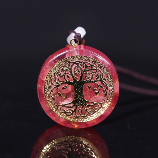 Tree Of Life Pink Crystal Healing Orgonite Pendant Necklace Front View