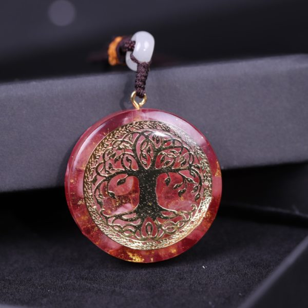 Tree Of Life Pink Crystal Healing Orgonite Pendant Necklace Front View Close Up