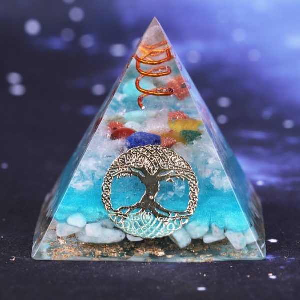 7 Chakra Orgone Pyramid With Amazonite Copper Coil And Golden Tree Of Life Symbol 1