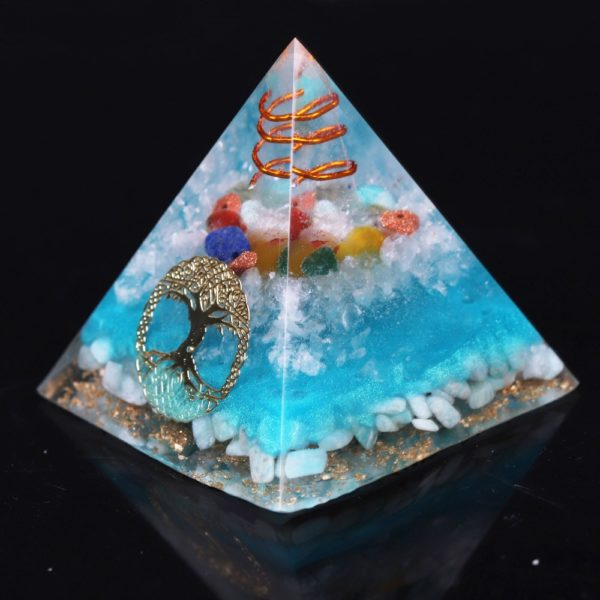 7 Chakra Orgone Pyramid With Amazonite Copper Coil And Golden Tree Of Life Symbol Side View