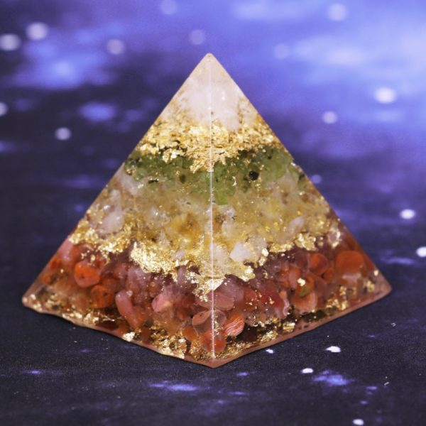 Citrine Orgone Pyramid With Red Agate Olivine And White Crystal Mix Back Angle View