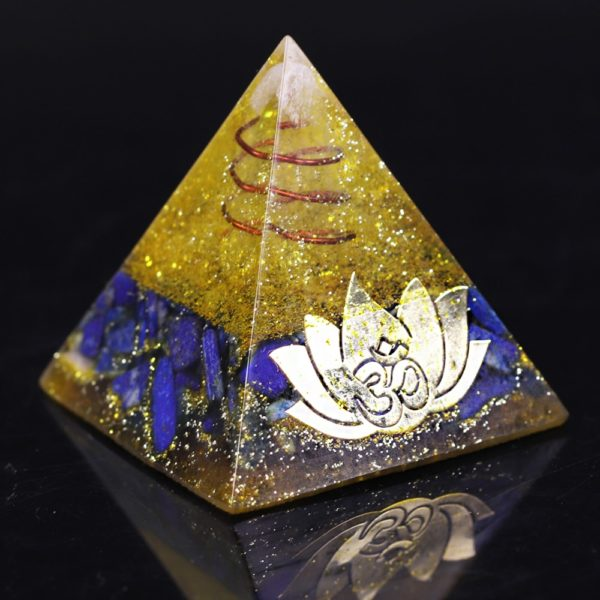 Lapis Lazuli And Golden Resin Orgone Pyramid With Lotus Flower Symbol Front Side View 2