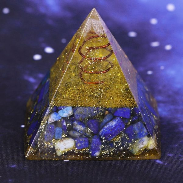 Lapis Lazuli And Golden Resin Orgone Pyramid With Lotus Flower Symbol Side Rear View