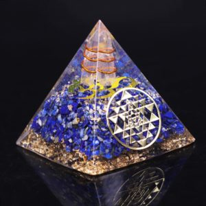 Lapis Lazuli Orgone Pyramid With Copper Coil And Golden Sri Yantra Symbol Front Angle View