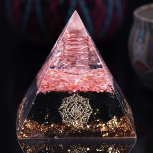 Obsidian Orgone Pyramid With Coral Shell, Copper Coil And Sri Yantra Symbol 1