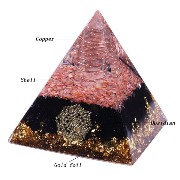 Obsidian Orgone Pyramid With Coral Shell, Copper Coil And Sri Yantra Symbol Contents Diagram