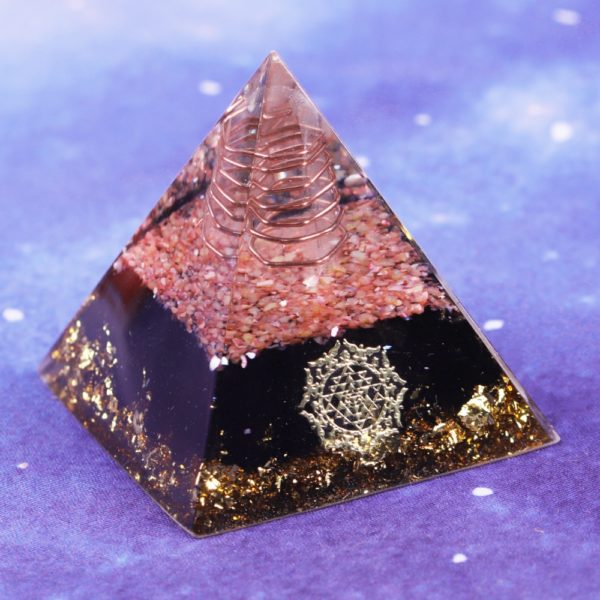 Obsidian Orgone Pyramid With Coral Shell, Copper Coil And Sri Yantra Symbol Front Angle View 2