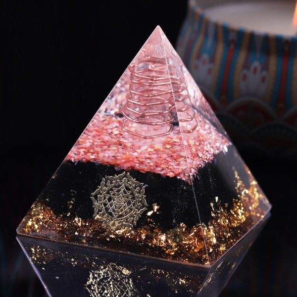 Obsidian Orgone Pyramid With Coral Shell, Copper Coil And Sri Yantra Symbol Front Angle View