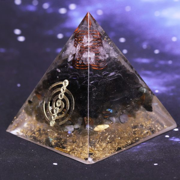 Smoky Quartz Orgone Pyramid With Copper Coil And Chakra Symbol Energy Patch Front Angle View