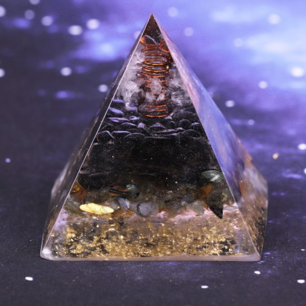Smoky Quartz Orgone Pyramid With Copper Coil And Chakra Symbol Energy Patch Rear View