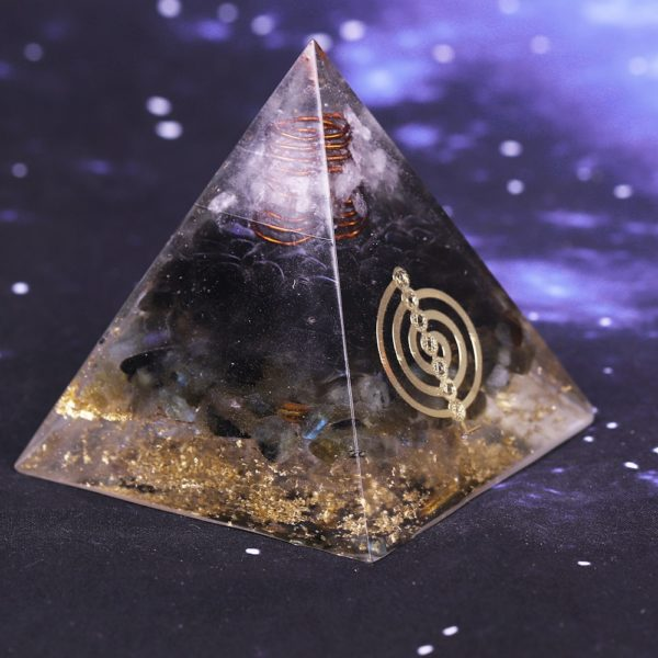 Smoky Quartz Orgone Pyramid With Copper Coil And Chakra Symbol Energy Patch Side View