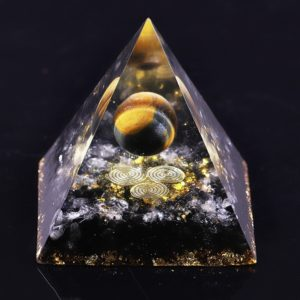 Tigers Eye Orgone Pyramid With Obsidian And White Crystals 1