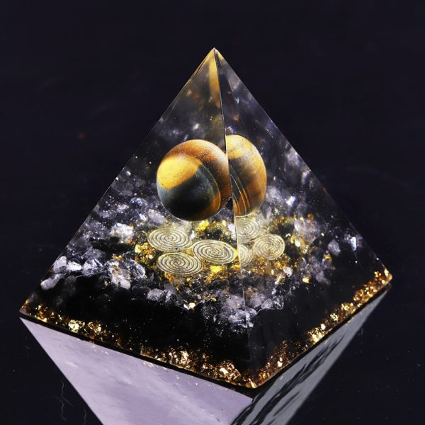 Tigers Eye Orgone Pyramid With Obsidian And White Crystals Angle View