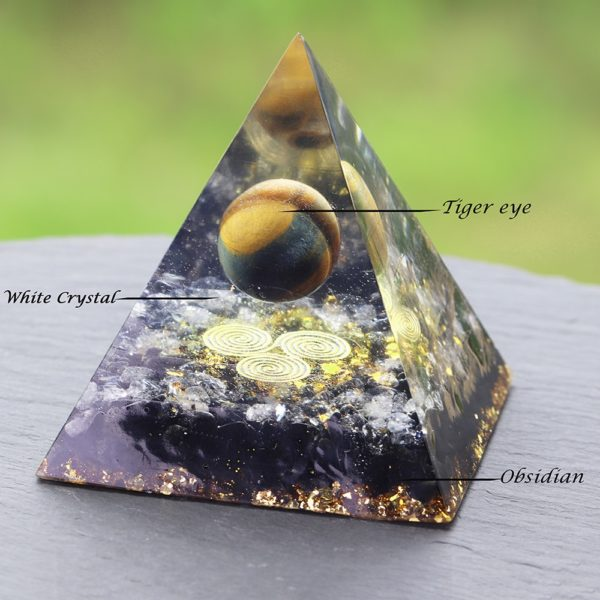 Tigers Eye Orgone Pyramid With Obsidian And White Crystals Contents Diagram