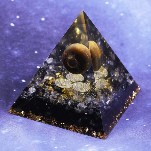 Tigers Eye Orgone Pyramid With Obsidian And White Crystals Rear View