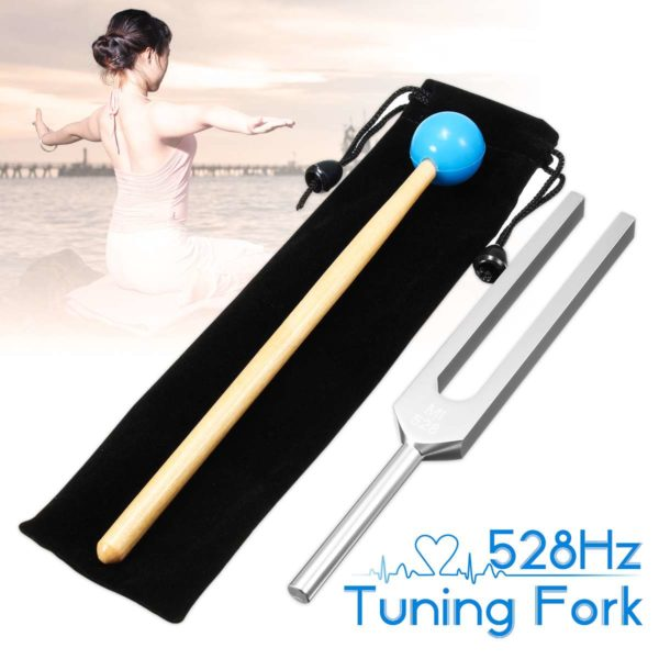 528Hz Aluminum Alloy Tuning Fork With Mallet And Case Meditation Graphic
