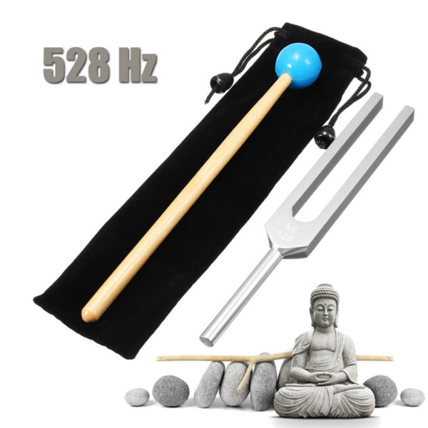 528Hz Aluminum Alloy Tuning Fork With Mallet Case Buddha Statue