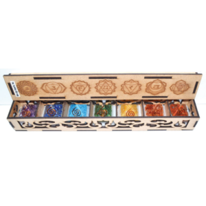 7 chakra orgone pyramid set with wooden engraved box