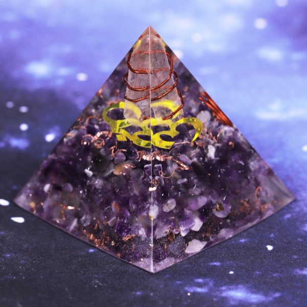 Amethyst Orgone Pyramid With Om Symbol And Copper Coil Angled View 2