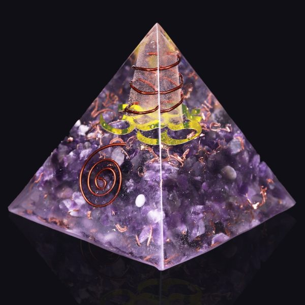 Amethyst Orgone Pyramid With Om Symbol And Copper Coil Angled View
