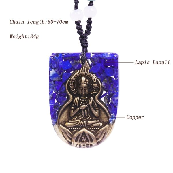 Copper Buddha Lapis Lazuli Energy Balancing Orgone Pendant Necklace Contents Diagram