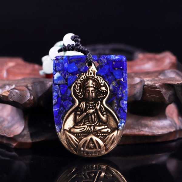 Copper Buddha Lapis Lazuli Energy Balancing Orgone Pendant Necklace Frontal View