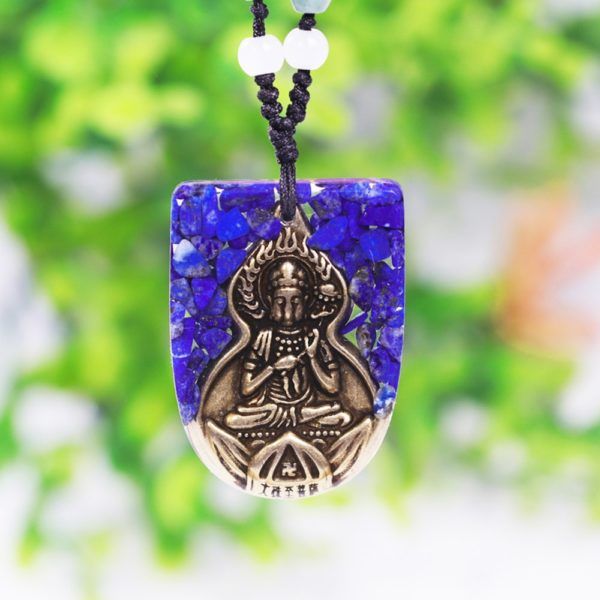 Copper Buddha Lapis Lazuli Energy Balancing Orgone Pendant Necklace Hanging Front View