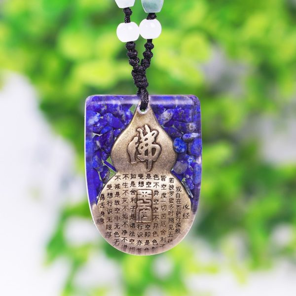 Copper Buddha Lapis Lazuli Energy Balancing Orgone Pendant Necklace Rear View Close Up