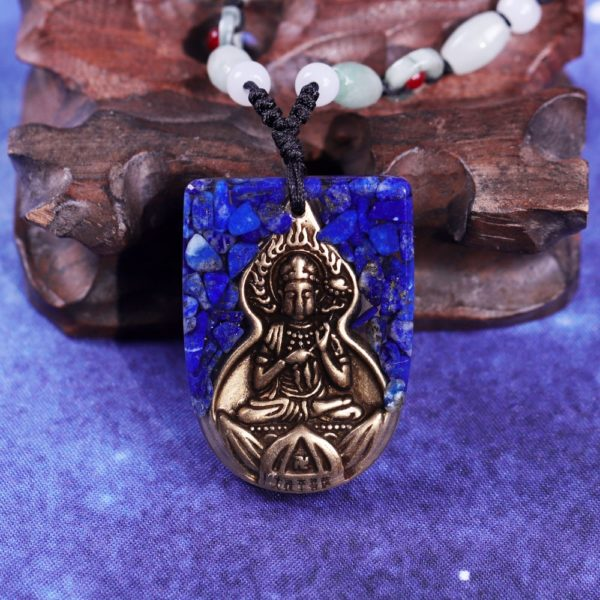 Copper Buddha Lapis Lazuli Energy Balancing Orgone Pendant Necklace Top View Close Up