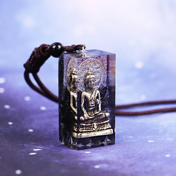 Copper Buddha Obsidian Orgone Amulet Pendant Necklace Angle View