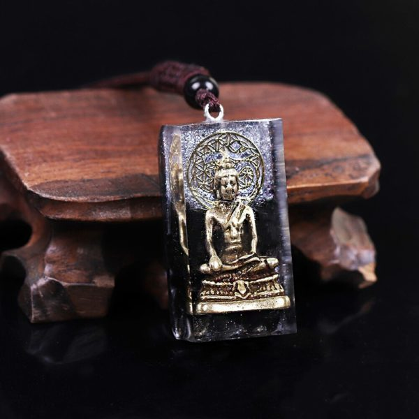 Copper Buddha Obsidian Orgone Amulet Pendant Necklace Frontal Angle