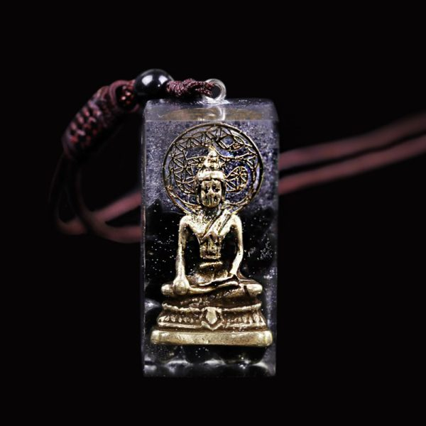 Copper Buddha Obsidian Orgone Amulet Pendant Necklace Frontal View Close Up