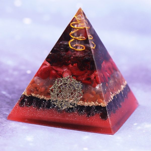 Garnet Opal Red Agate Copper Generator Orgone Pyramid Angle View